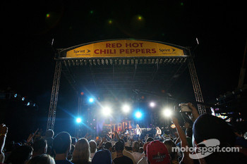 The Red Hot Chili Peppers perform during the NASCAR Nextel Open