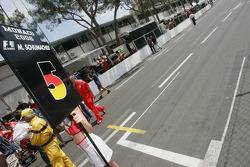 Empty starting block for Michael Schumacher