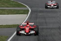 Michael Schumacher leads Jarno Trulli