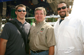 Dave Granito, Assistant Trainer for the New England Patroits, Joe Nemechek, driver of the #01 U.S. Army Chevrolet, Matt Patricia, Linebacker Coach for the New England Patroits