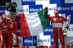 Podium: race winner Michael Schumacher celebrates with Felipe Massa and Jean Todt