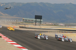 The Audis lead into the first turn