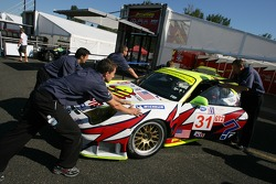 Petersen/White Lightning Porsche 911 GT3 RSR back from technical inspection