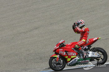 Marco Melandri celebrates a podium finish
