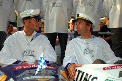 Presentation of the boats for the water rafting race to be held in Zandvoort: boat of Martin Tomczyk and Heinz-Harald Frentzen