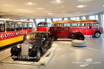 DaimlerChrysler Mercedes media warmup event: historical cars in the Mercedes-Benz museum in Stuttgart