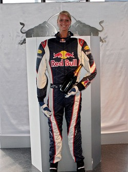 Bullshop: a Red Bull Racing suit with a bottle of champagne and a girl