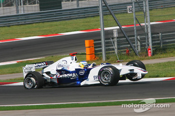 Damaged car of Nick Heidfeld