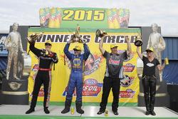 Top Fuel winner Spencer Massey, Funny Car winner Ron Capps, Pro Stock winner Greg Anderson, Pro Stock Bike winner Karen Stoffer