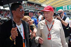 Jermaine Jackson, Singer with Niki Lauda, Mercedes Non-Executive Chairman