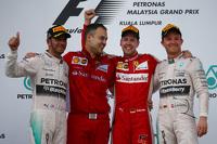 Podium: race winner Sebastian Vettel, Ferrari, second place Lewis Hamilton, Mercedes AMG F1, third place Nico Rosberg, Mercedes AMG F1 W06