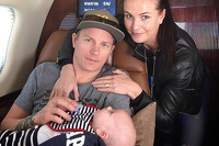 Kimi Raikkonen with son Robin and girlfriend Minttu Virtanen