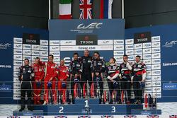 GTE Am podium: winners Paul Dalla Lana, Mathias Lauda, Pedro Lamy, second place François Perrodo, Emmanuel Collard, Rui Aguas, third place Viktor Shaitar, Andrea Bertolini, Alexey Basov