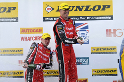Honda duo Gordon Shedden and Matt Neal celebrate on the podium