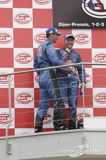 GT1 podium: second place Karl Wendlinger and Philipp Peter