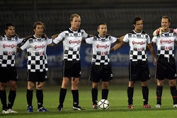 National drivers charity football match at Stadio Brianteo Stadio Brianteo: Giancarlo Fisichella, Jarno Trulli, Vitantonio Liuzzi, Robert Doornbos and Michael Schumacher