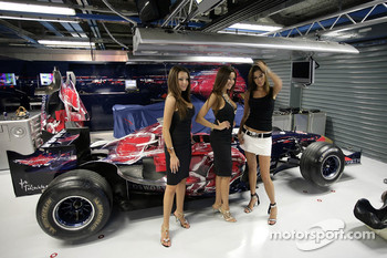 Charming meteorines and actress Aida Yespica in the Scuderia Toro Rosso garage