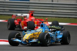 Giancarlo Fisichella leads Michael Schumacher