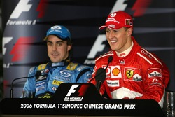 Press conference: race winner Michael Schumacher with Fernando Alonso