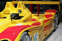 The race trim version of the 2007 Porsche RS Spyder presentation is presented at the Paris Auto Show
