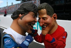 Fernando Alonso and Michael Schumacher models go head to head