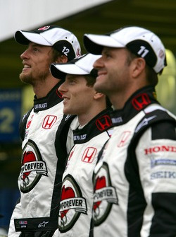 Honda photoshoot: Jenson Button, Anthony Davidson and Rubens Barrichello