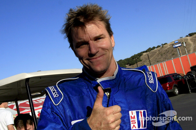 Pole winner Stefan Johansson celebrates