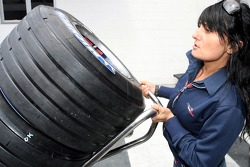 Red Bull Racing press officer Fabiana Valenti with Michelin tyres