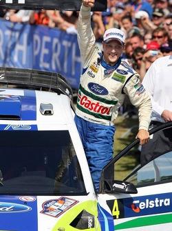 Podium: winner Mikko Hirvonen celebrates