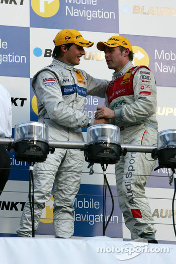 Podium: race winner Bruno Spengler and Tom Kristensen