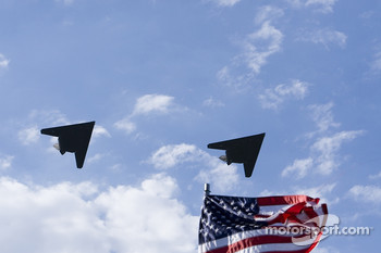F-117 Stealth Fighters over the colors