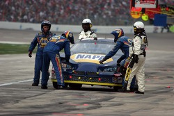 Michael Waltrip pulls in with trouble