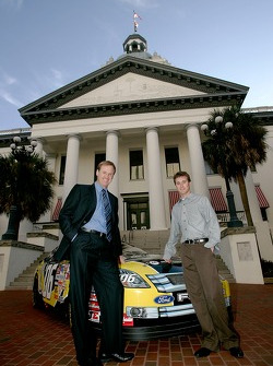 Rusty Wallace, left, and Kasey Kahne, right, pose for a photo outside the Florida state capitol building