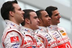 Fernando Alonso, Lewis Hamilton, Pedro de la Rosa and Gary Paffett