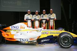 Ricardo Zonta, Heikki Kovalainen, Giancarlo Fisichella and Nelson A. Piquet