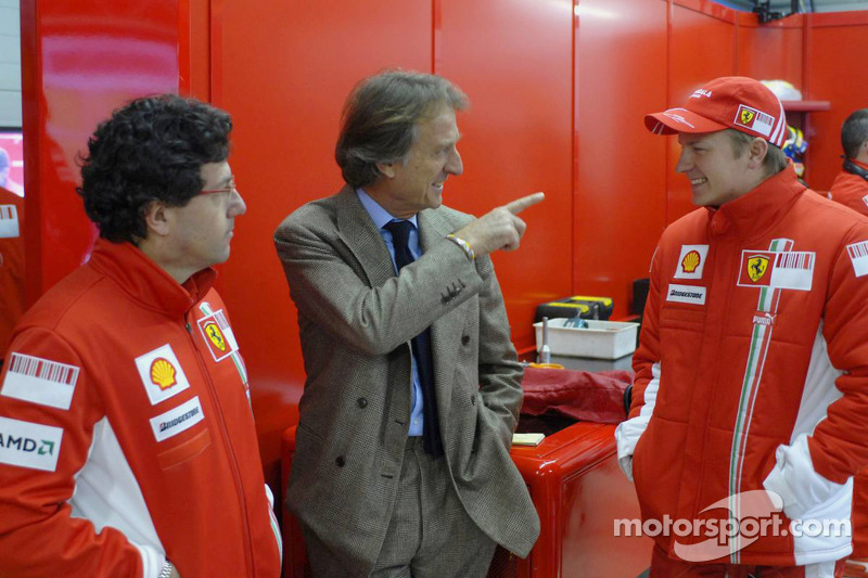 Luca Baldisserri, head of trackside operations and Luca di Montezemolo with Kimi Raikkonen