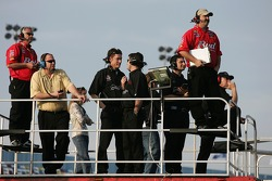 Bud Chevy crew members and Tony Eury Jr. watch practice action from atop the haulers