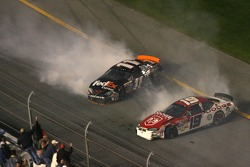 Denny Hamlin and Elliott Sadler keep spinning out of control
