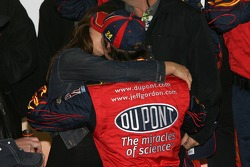 Victory lane: race winner Jeff Gordon celebrates with his wife Ingrid