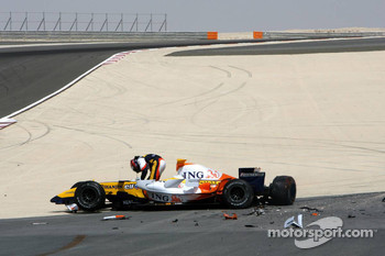 Heikki Kovalainen after his crash