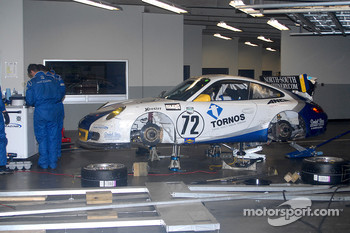 #72 Tafel Racing Porsche GT3 Cup sits out red flag in garage