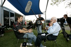 Jenson Button, Honda Racing F1 Team is Interviewed by Murray Walker