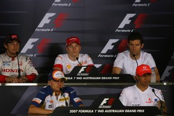 Jenson Button, Honda Racing F1 Team with Heikki Kovalainen, Renault F1 Team, Kimi Raikkonen, Scuderia Ferrari, Mark Webber, Red Bull Racing and Lewis Hamilton, McLaren Mercedes