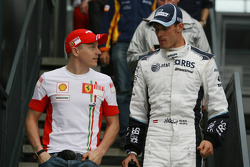 Kimi Raikkonen, Scuderia Ferrari and Alex Wurz, Williams F1 Team