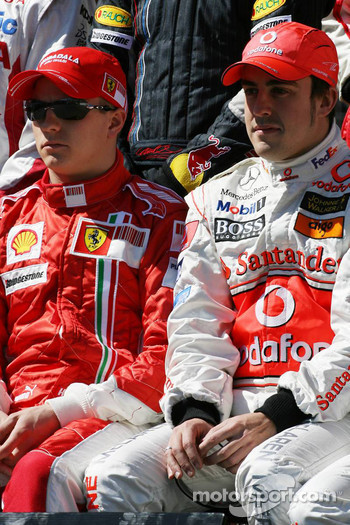 Kimi Raikkonen, Scuderia Ferrari and Fernando Alonso, McLaren Mercedes
