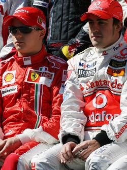 Kimi Raikkonen, Scuderia Ferrari and Fernando Alonso, McLaren Mercedes