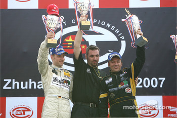 GT1 podium: class and overall winners Stefan Mcke and Christophe Bouchut