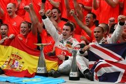 Victory celebration at McLaren: Lewis Hamilton, Fernando Alonso