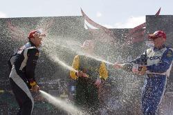 Paul Tracy, Robert Doornbos and Will Power celebrate