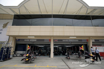 The garage of Red Bull Racing